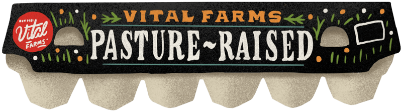 an illustration of the black Vital Farms Pasture-Raised egg carton