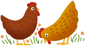 Decorative icon of chickens