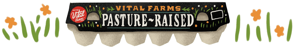An illustration of the Vital Farms pasture raised egg carton.