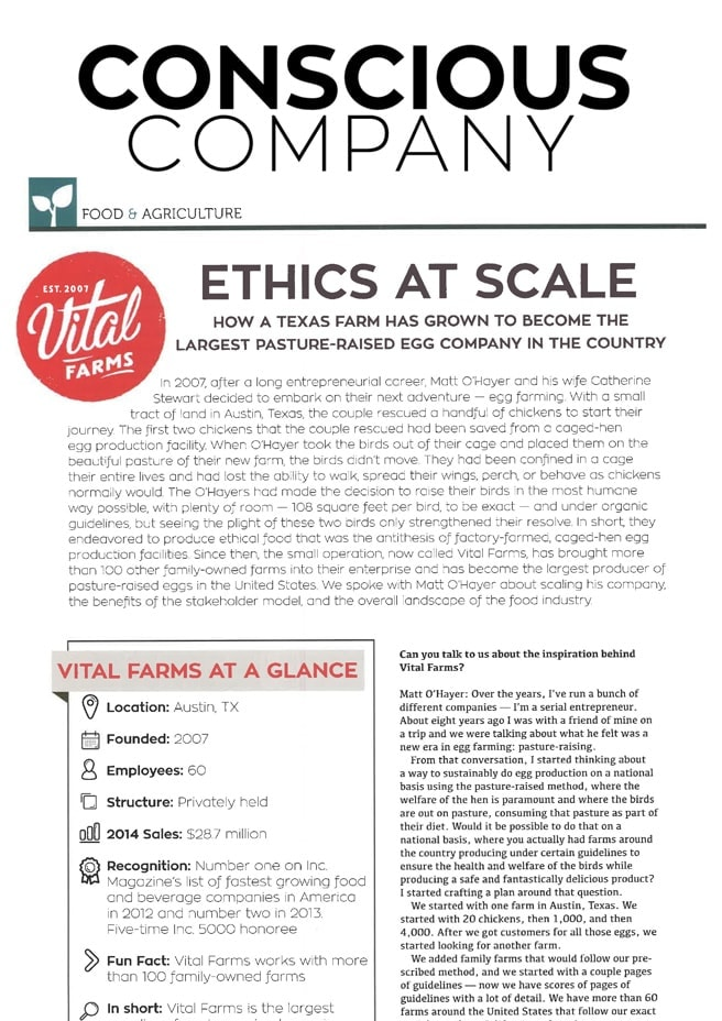 A screenshot of an article from Conscious Company with the headline: Ethics At Scale: How a Texas farm has grown to become the largest Pasture-Raised Egg Company in the country.