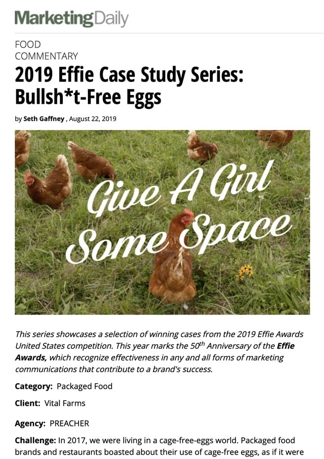 A screenshot of an article from Marketing Daily with the headline: 2019 Effie Case Study Series: Bullsh*t-Free Eggs
