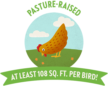 Pasture Raised Icon that says they have at least 108 sq feet per bird
