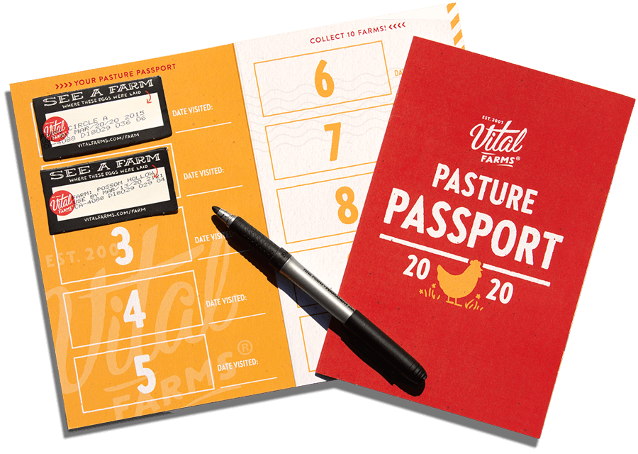 An example of a pasture passport, a red booklet that has places inside for you to glue the cut out of farms you see from the cartons.