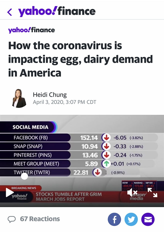 A screenshot of an article from Yahoo finance with the headline: How the coronavirus is impacting egg, dairy demand in America