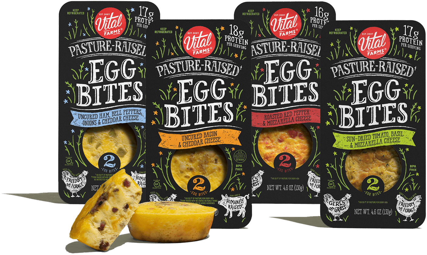 Four packages of Vital Farms Egg Bites in four different flavors.