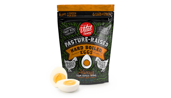 A 6 count container of Grab and Go 2-packs of pasture raised hard boiled eggs.