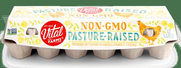 A carton of Pasture-Raised Non GMO Eggs