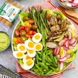 Bountiful Summer Sausage Salad with Herbed Avocado Dressing