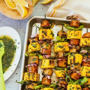 Sausage Skewers with Spicy Herb Butter